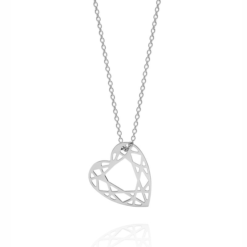 SMALL HEART DIAMOND NECKLACE - SILVER - product images  of