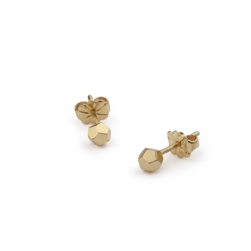 DODECAHEDRON STUD EARRINGS - GOLD - product images  of