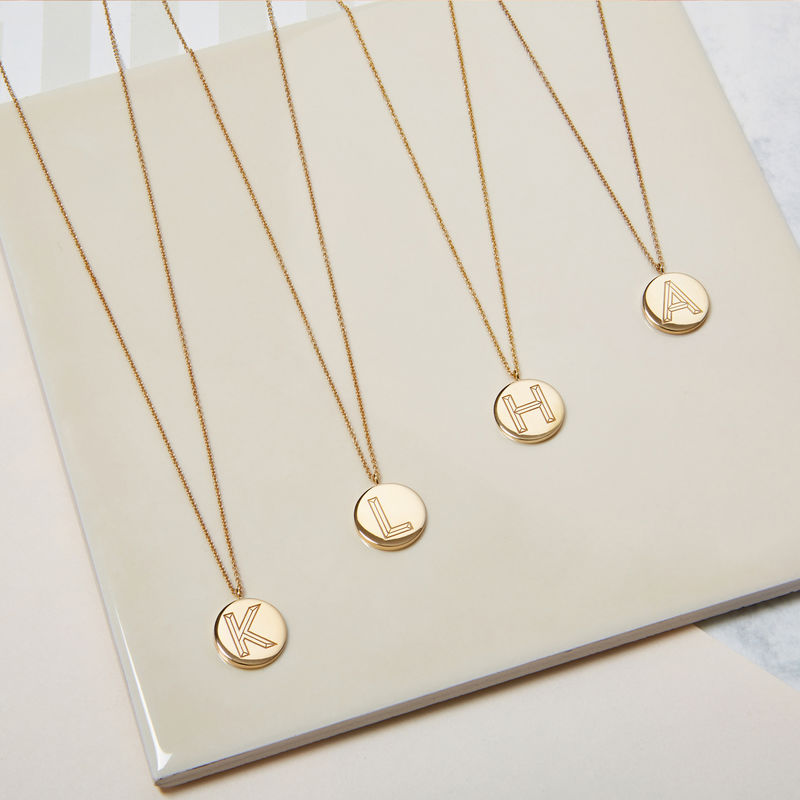 FACETT INITIAL NECKLACE -GOLD WITH DIAMOND / PERSONALISED  - product images  of