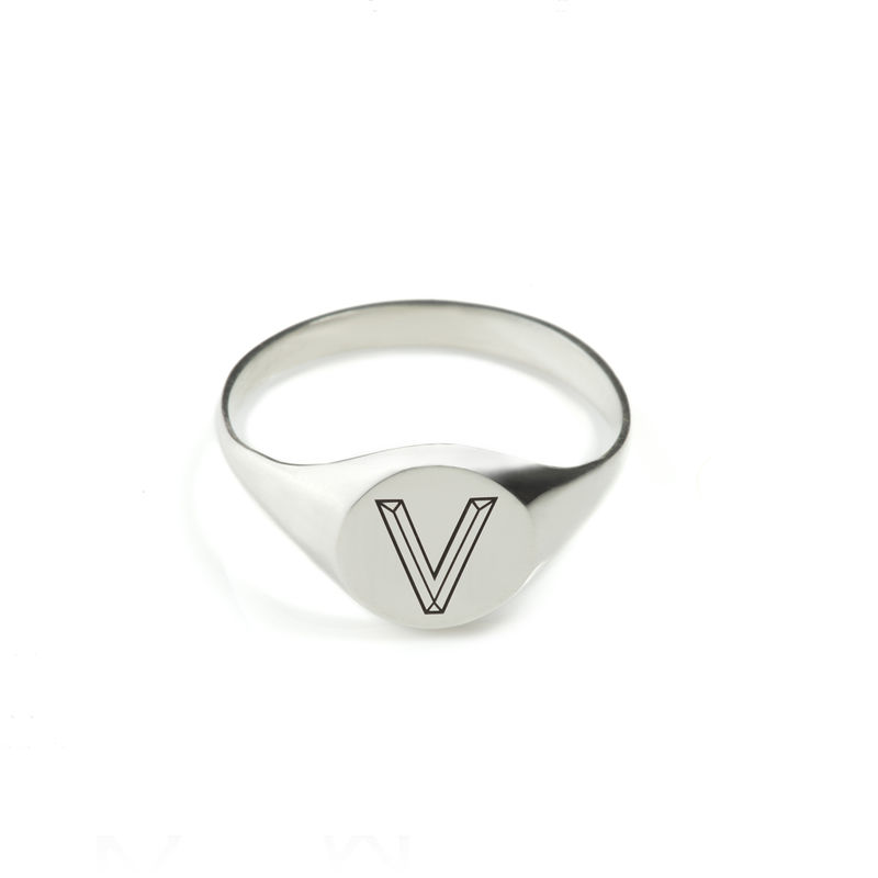 FACETT ROUND SIGNET RING - SILVER / PERSONALISED  - product images  of