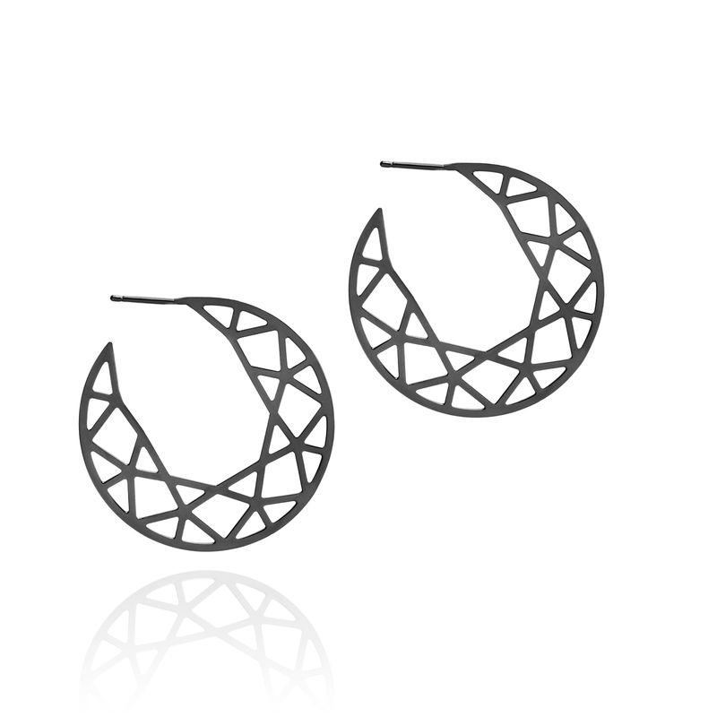 LARGE BRILLIANT DIAMOND HOOP EARRINGS - BLACK - product images  of