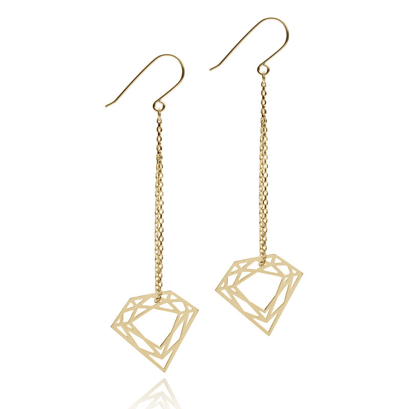 CLASSIC DIAMOND CHAIN EARRINGS - GOLD - product images  of