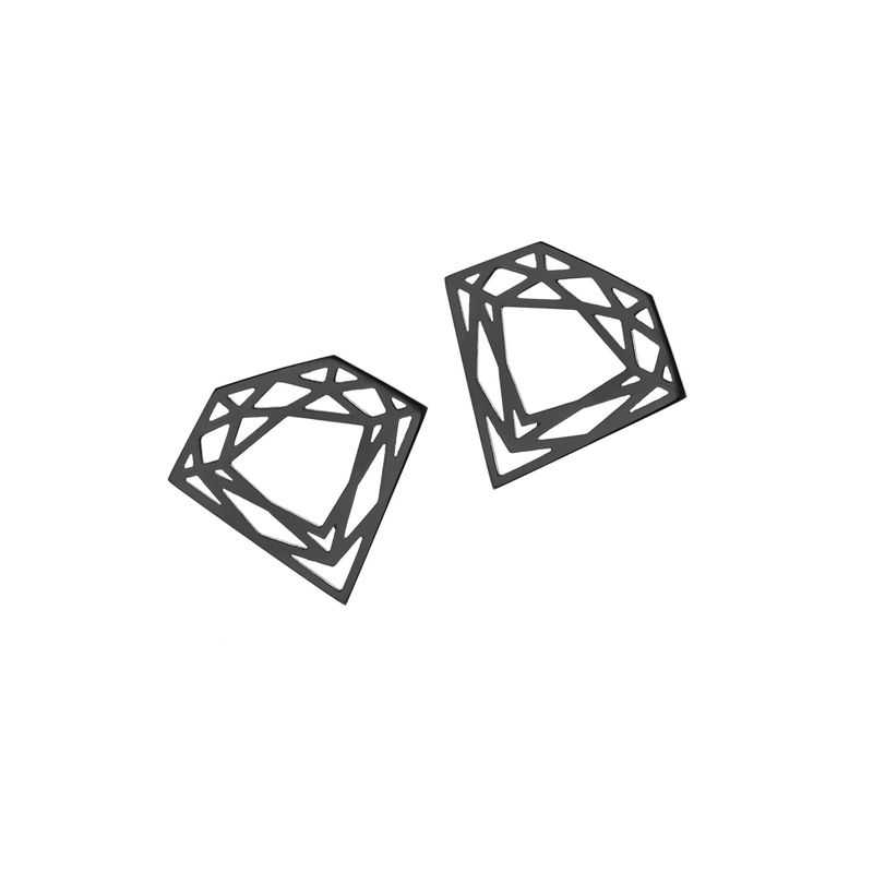 CLASSIC DIAMOND STUD EARRINGS - BLACK - product images  of