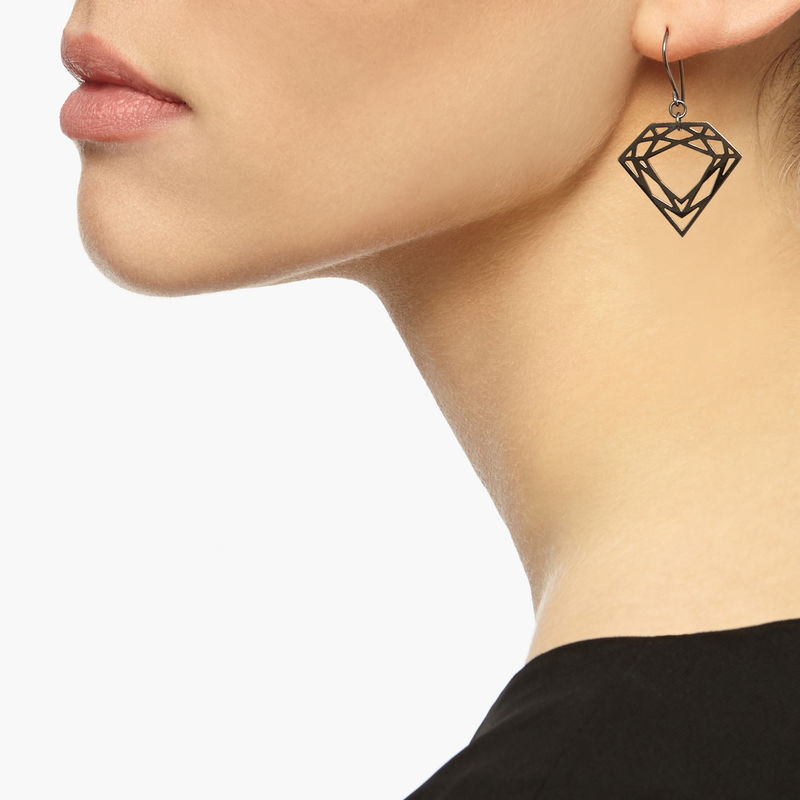 CLASSIC DIAMOND DROP EARRINGS - BLACK - product images  of