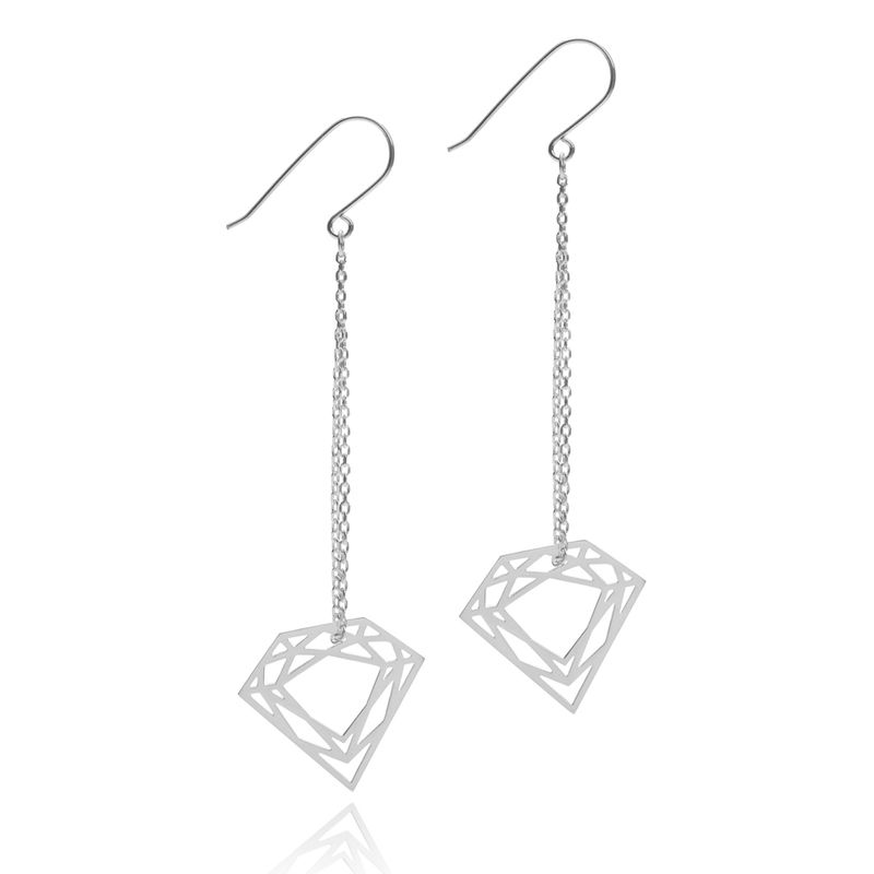 CLASSIC DIAMOND CHAIN EARRINGS - SILVER - product images  of