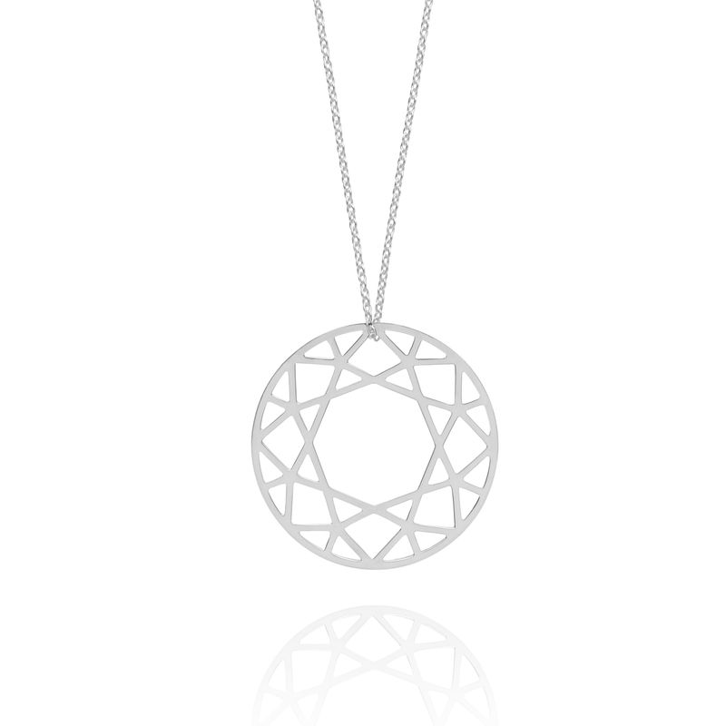 LARGE BRILLIANT DIAMOND NECKLACE - SILVER - product images  of