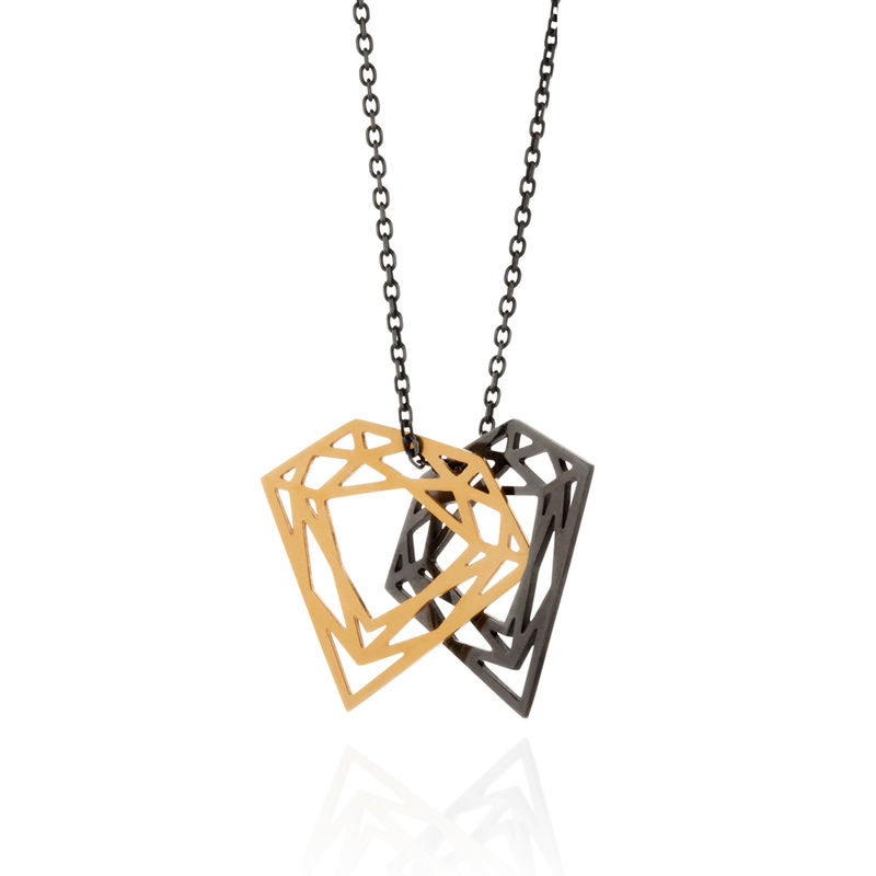 DOUBLE DIAMOND NECKLACE - BLACK&GOLD - product images  of