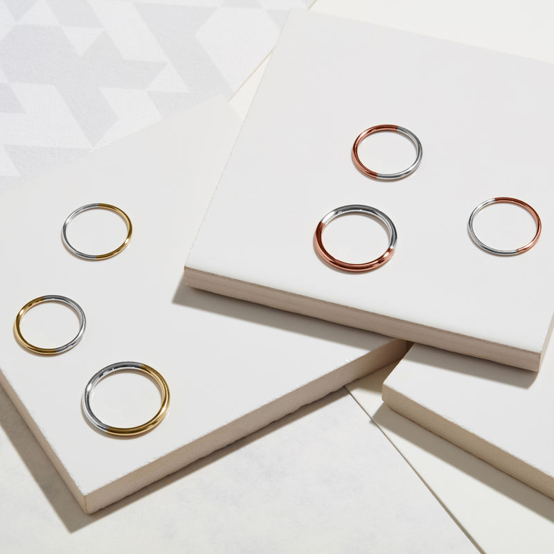 TWO-TONE SKINNY ROUND STACKING RING - YELLOW GOLD - product images  of