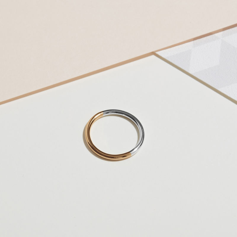 TWO-TONE ROUND BAND - YELLOW GOLD - product images  of