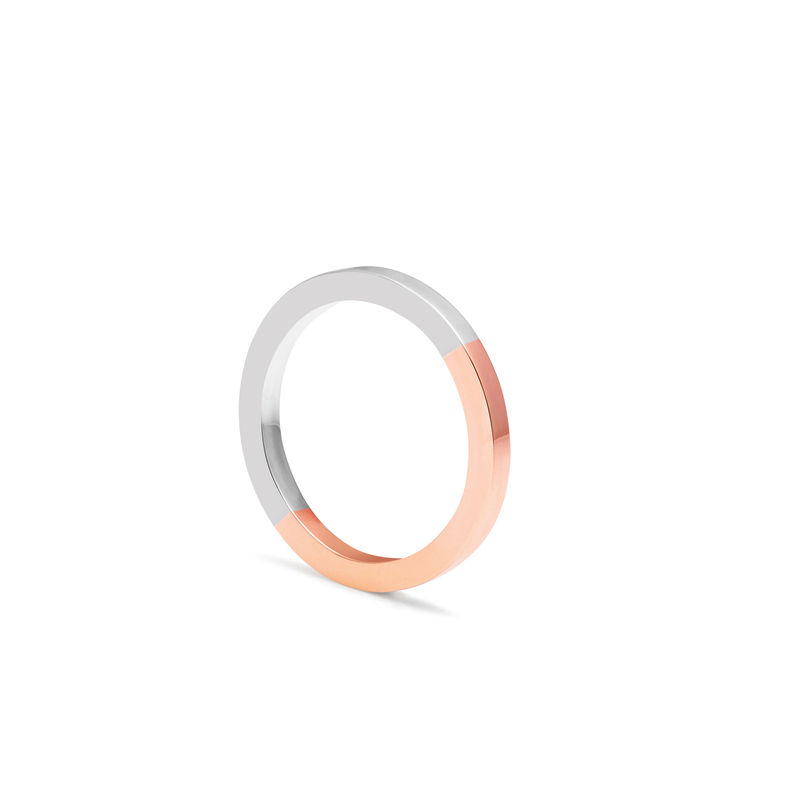 TWO-TONE SQUARE BAND - ROSE GOLD - product images  of