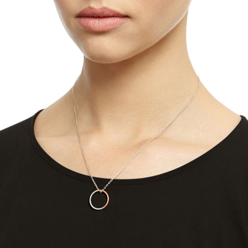 TWO-TONE CIRCLE NECKLACE - ROSE GOLD - product images  of