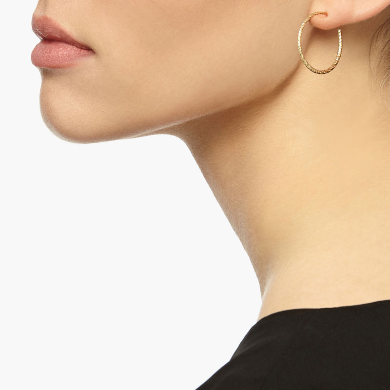 Medium Diamond Hoop Earrings Gold Product Image