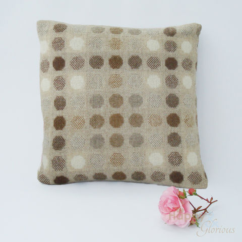 Natural,brown,'Mondo',spot,pure,lambswool,cushion,by,Melin,Tregwynt, wool, traditional, doublecloth, spot, spotty, spotted, soft, warm, natural, lambswool, taupe, beige, coffee, brown, Welsh, Wales, cushion, cushions, British, Tregwynt, Melin Tregwynt, Britain, Made in Britain, England, English