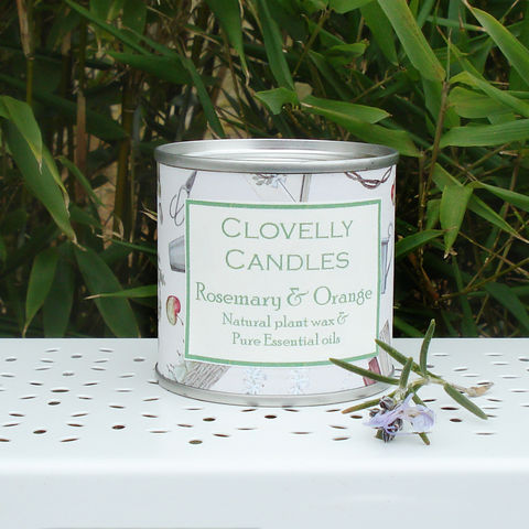 Clovelly,rosemary,&,orange,plant,wax,candle,in,tin, Clovelly candle, natural, organic, candle, orange, essential, oil, essential oil, British, paraben free, handmade, Devon, made in Britain, English, made in the UK