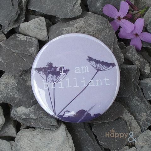 Lilac,'I,am,brilliant',pocket,mirror,in,gift,bag,flowers, garden, cow parsley, mirror, pocket mirror, handbag mirror, gift bag, art, british, made in uk, made in england, britain
