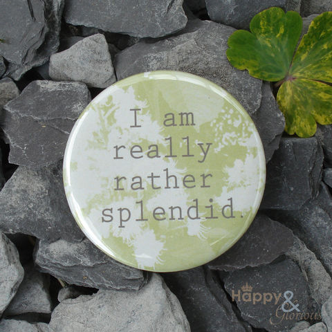 Green,'I,am,really,rather,splendid',pocket,mirror,in,gift,bag,flowers, garden, chestnut, mirror, pocket mirror, handbag mirror, gift bag, art, british, made in uk, made in england, britain