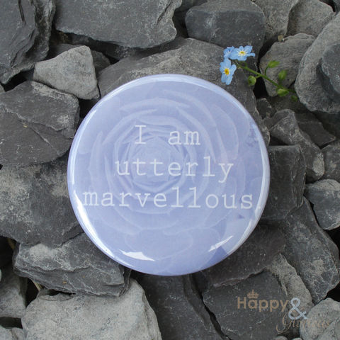 Blue,'I,am,utterly,marvellous',pocket,mirror,in,gift,bag,flowers, garden, succulent, blue, mirror, pocket mirror, handbag mirror, gift bag, art, british, made in uk, made in england, britain