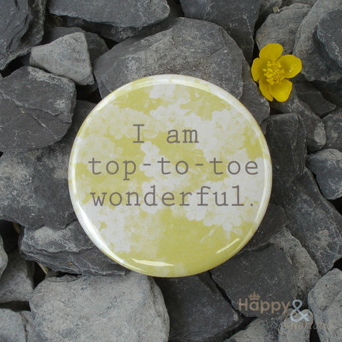 Yellow,'I,am,top-to-toe,wonderful',pocket,mirror,in,gift,bag,flowers, garden, blossom, yellow, mirror, pocket mirror, handbag mirror, gift bag, art, british, made in uk, made in england, britain