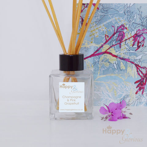 champagne,&,pink,grapefruit,fragrance,reed,diffuser, grapefruit, pink grapefruit, Diffuser, British, rattan reeds, rattan, reeds, fragrance, oil, recycled, relaxing, glass, scent, scented, made in Britain, English, made in the UK