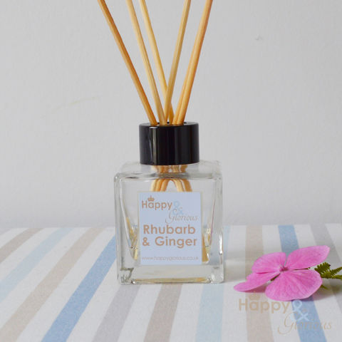 Organic,Rhubarb,&,Ginger,Fragrance,reed,Diffuser, Organic, British, rattan reeds, rattan, reeds, essential oil, fragrance, oil, rhubarb, ginger, custard, recycled, relaxing, glass, scent, scented, Britain, Made in Britain, England, English