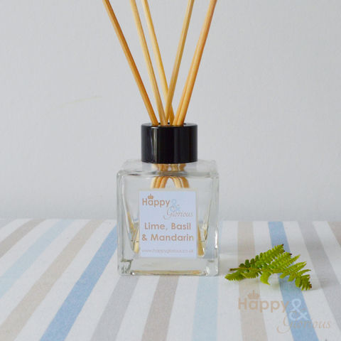 Lime,Basil,&,Mandarin,Fragrance,Reed,Diffuser, Diffuser, British, rattan reeds, rattan, reeds, fragrance, oil, lime, basil, mandarin, jo malone, recycled, relaxing, glass, scent, scented, Britain, Made in Britain, England, English