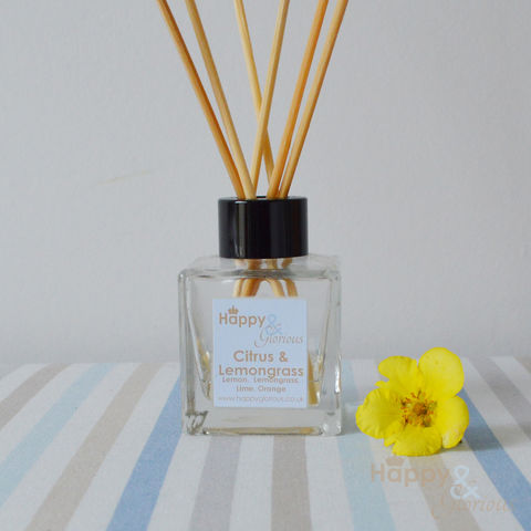 citrus,&,lemongrass,essential,oil,fragrance,reed,diffuser, citrus, lemon, lemongrass, orange, lime, Diffuser, Organic, British, rattan reeds, rattan, reeds, fragrance, oil, recycled, relaxing, glass, scent, scented, made in Britain, English, made in the UK