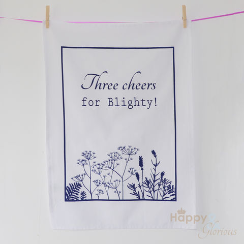 Navy,&,white,'Three,Cheers,for,Blighty',screen-printed,tea,towel,by,Kate,Tompsett,navy, indigo, cow parsley, lavender, fern, flower, seedheads, silhouette, blue, white, screen printed, tea towel, teatowel, Kate Tompsett, British tea towel, made in Britain, British, English, made in the UK