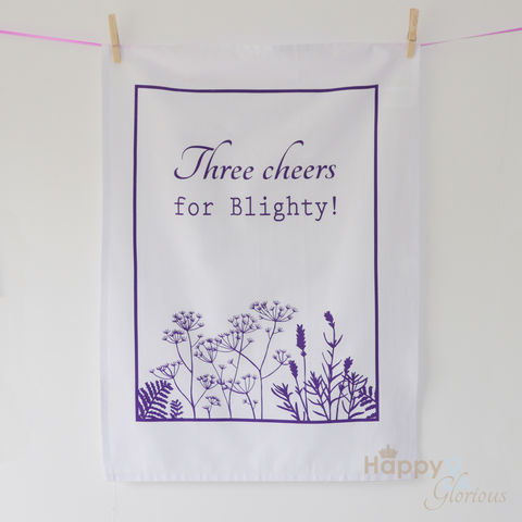 Purple,&,white,'Three,Cheers,for,Blighty',screen-printed,tea,towel,by,Kate,Tompsett,purple, mauve, cow parsley, lavender, fern, flower, seedheads, silhouette, white, screen printed, tea towel, teatowel, Kate Tompsett, British tea towel, made in Britain, British, English, made in the UK