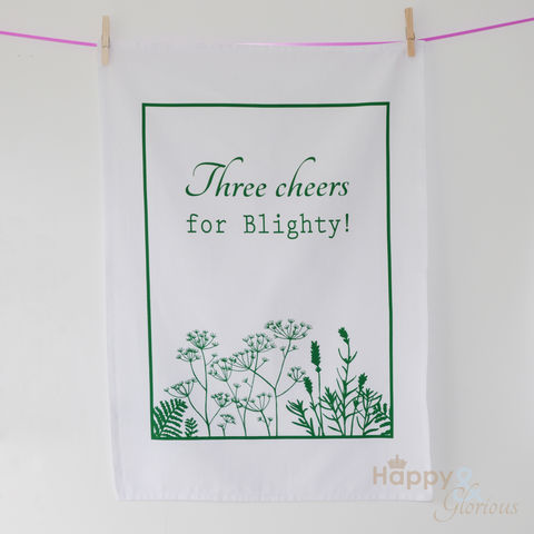 Green,&,white,'Three,Cheers,for,Blighty',screen-printed,tea,towel,by,Kate,Tompsett,green, cow parsley, lavender, fern, flower, seedheads, silhouette, white, screen printed, tea towel, teatowel, Kate Tompsett, British tea towel, made in Britain, British, English, made in the UK