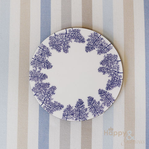 Navy,blue,&,white,fennel,leaves,silhouette,wooden,coaster,by,Kate,Tompsett,navy, indigo, fennel, leaves, silhouette, blue, white, coaster, Kate Tompsett, wooden, drink mat, made in Britain, British, English, made in the UK