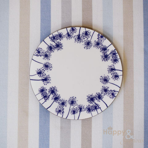 Navy,blue,&,white,dandelion,silhouette,wooden,coaster,by,Kate,Tompsett,navy, indigo, dandelion, seed heads, leaves, silhouette, blue, white, coaster, Kate Tompsett, wooden, drink mat, made in Britain, British, English, made in the UK