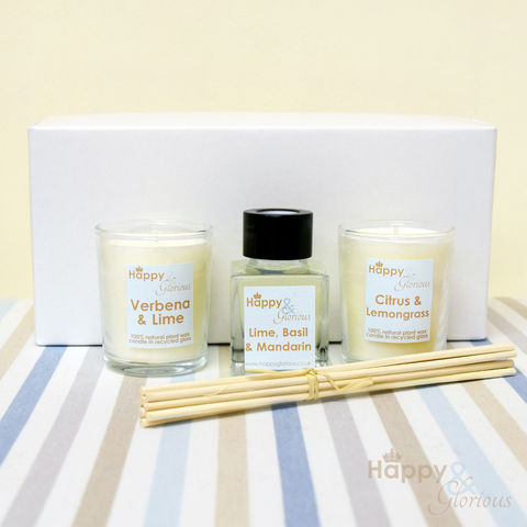 Citrus,fragrance,gift,set,-,Mini,reed,diffuser,&,two,candle,votives,detox, plant wax, soy wax, citrus, lime basil mandarin, verbena, lemongrass, Diffuser, British, rattan reeds, rattan, reeds, essential oil, fragrance, oil, relaxing, glass, scent, scented, Made in Britain, English