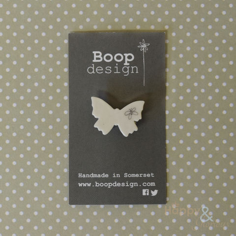Porcelain,butterfly,brooch,by,Boop,Design, vintage, antique, badge, brooch, handmade, natural, ivory, hand crafted, gift, porcelain, Boop, Boop Design, Laura Pearcey, Britain, British, Made in UK, Made in Britain, England, English
