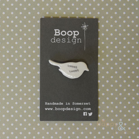 Porcelain,'tweet,tweet',bird,brooch,by,Boop,Design, tweet, vintage, antique, badge, brooch, handmade, natural, ivory, hand crafted, gift, porcelain, Boop, Boop Design, Laura Pearcey, Britain, British, Made in UK, Made in Britain, England, English