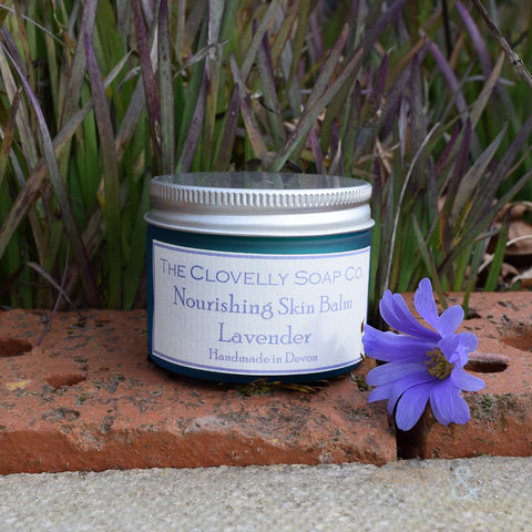 Clovelly,Lavender,Essential,Oil,Skin,Balm, Clovelly soap, natural, organic, skin balm, moisturiser, balm, hand cream, lavender, essential, oil, essential oil, British, paraben free, glycerine, olive, coconut, olive oil, handmade, Devon, made in Britain, English, made in the UK