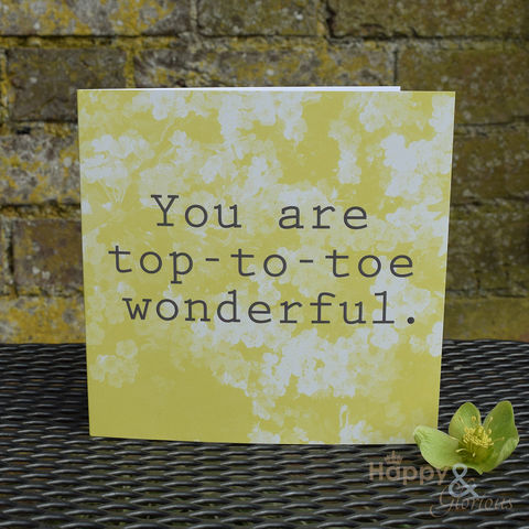 Yellow,'you,are,top-to-toe,wonderful',greetings,card,by,Kate,Tompsett,yellow, may, blossom, photograph, recoloured, you are wonderful, designer, card, birthday card, blank card, Britain,