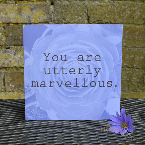 Blue,'you,are,utterly,marvellous',greetings,card,by,Kate,Tompsett,succulent, cactus, photograph, recoloured, you are marvellous, designer, card, birthday card, blank card, Britain,