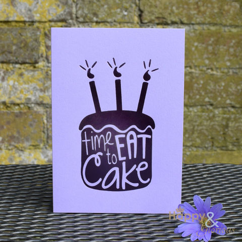 Purple,'time,to,eat,cake',greetings,card,by,Raspberry,Blossom,cake, birthday, cupcake, purple, lilac, raspberry blossom, designer, card, birthday card, blank card, Britain,