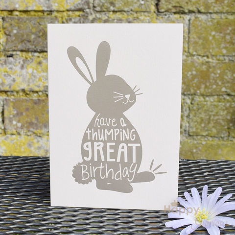 Cream,'have,a,thumping,great,birthday',bunny,greetings,card,by,Raspberry,Blossom,rabbit, birthday, bunny, silver, raspberry blossom, designer, card, birthday card, blank card, Britain, made in britain