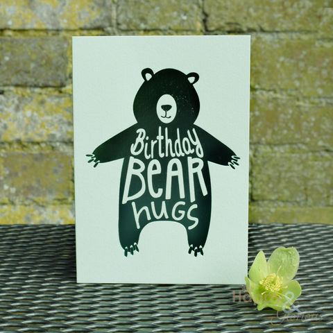 Green,'birthday,bear,hugs',greetings,card,by,Raspberry,Blossom,birthday, bear, green, bear hug, foil, raspberry blossom, designer, card, birthday card, blank card, Britain, made in Britain