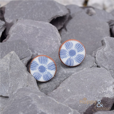 Blue,&,white,flower,ceramic,stud,earrings,by,Stockwell,Ceramics, floral, blue, earrings, handmade, jewellery, studs, flower, Stockwell Ceramics, Britain, British, Made in Britain, England