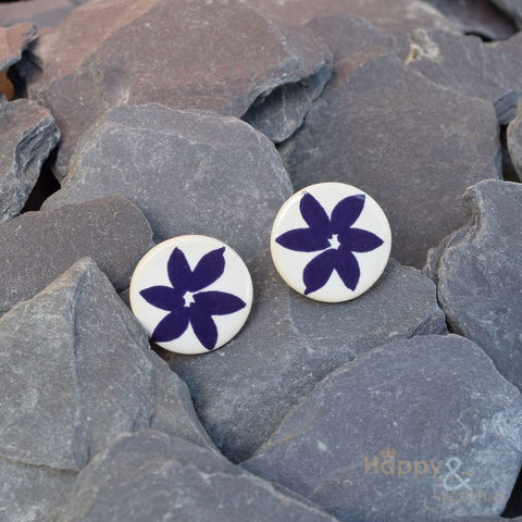 Navy,blue,flower,ceramic,stud,earrings,by,Stockwell,Ceramics, earrings, handmade, jewellery, studs, flower, Stockwell Ceramics, Britain, British, Made in Britain, England