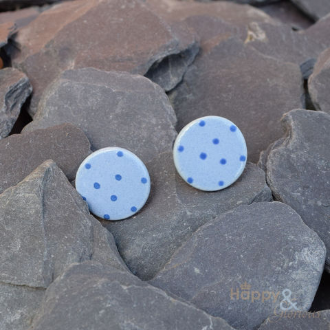 Blue,spotty,ceramic,stud,earrings,by,Stockwell,Ceramics,spots, spotty, blue, earrings, handmade, jewellery, studs, flower, Stockwell Ceramics, Britain, British, Made in Britain, England