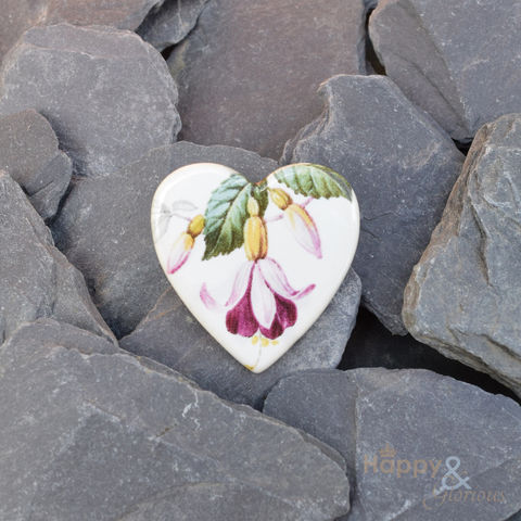 Pink,fuschia,flower,ceramic,heart,brooch,by,Stockwell,Ceramics,blossom, brooch, badge, heart, white, pink, blue, handmade, jewellery, studs, flower, Stockwell Ceramics, Britain, British, Made in Britain, England