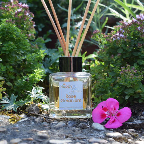 Rose,geranium,fragrance,reed,diffuser,rose geranium, rose, geranium, Diffuser, British, rattan reeds, rattan, reeds, fragrance, oil, recycled, relaxing, glass, scent, scented, made in Britain, English, made in the UK