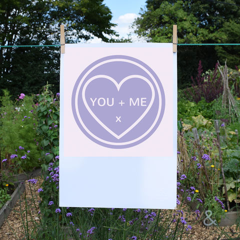 'You,+,Me',lilac,love,heart,digital,A3,print,by,Kate,Tompsett, poster, wall, wall art, art, love heart, loveheart, sweets, lilac, lavender, purple, valentine, love, British, Made in Britain, England, English