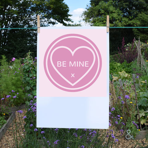 'Be,Mine',pink,love,heart,digital,A3,print,by,Kate,Tompsett, poster, wall, wall art, art, love heart, loveheart, sweets, pink, be mine, valentine, love, British, Made in Britain, England, English