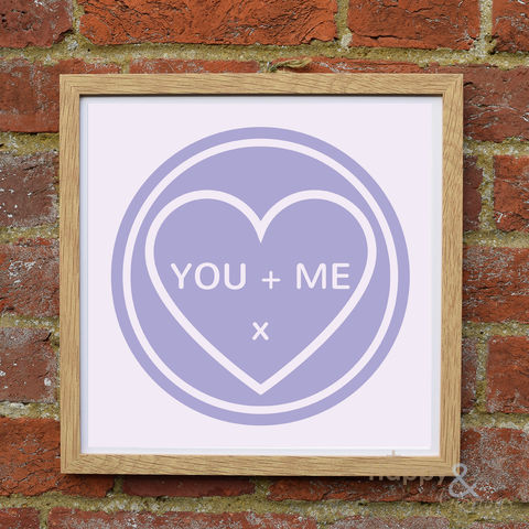 'You,+,Me',lilac,love,heart,framed,print,by,Kate,Tompsett, wall art, art, love heart, loveheart, sweets, lilac, lavender, purple, valentine, love, British, Made in Britain, England, English