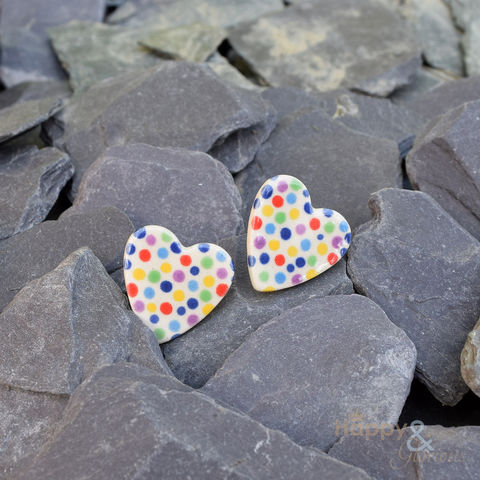 Multi-coloured,spotty,heart,shaped,ceramic,stud,earrings,by,Stockwell,Ceramics,multi coloured, spots, spotty, red, green, blue, earrings, handmade, jewellery, studs, Stockwell Ceramics, Britain, British, Made in Britain, England