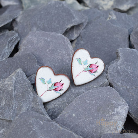 Pink,rose,heart,shaped,ceramic,stud,earrings,by,Stockwell,Ceramics,pink, rose, rosebud, heart, earrings, handmade, jewellery, studs, Stockwell Ceramics, Britain, British, Made in Britain, England